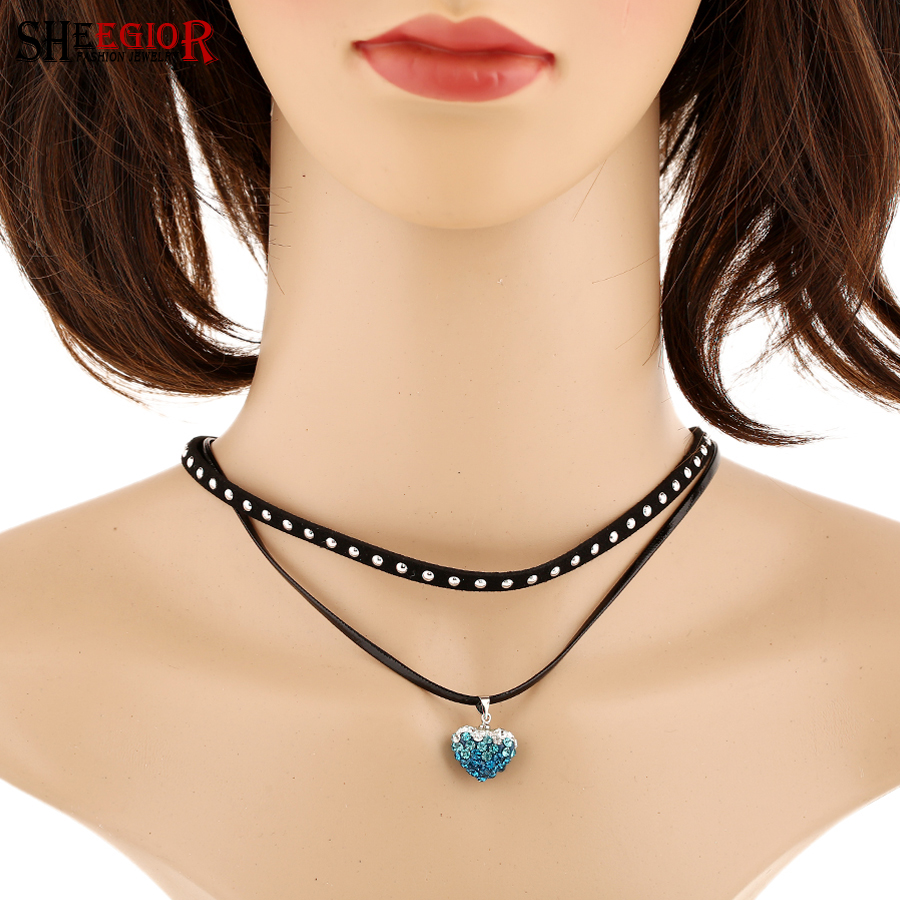 SHEEGIOR New Punk Chorkers Necklace Black Red Blue Rhinestone Heart Pendant Short Necklace 2 Layer Ribbon Women Collars Necklace
