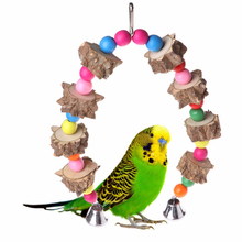 1 pcs Natural Wooden Birds Parrots Toys Training Peck Chewing toys Birds toys Hanging Cage Swing bird cage accessories Supplies поло print bar cage birds