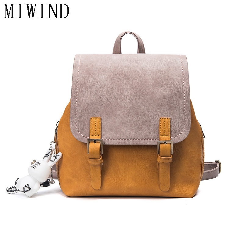 MIWIND Fashion Women Backpack PU Leather Women s Shoulder Bag Schoolbags TDY521