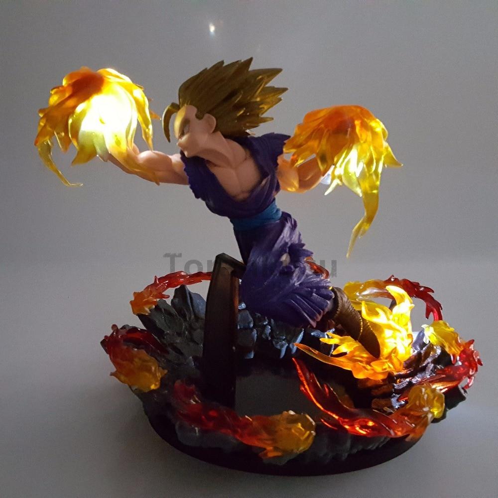 Dragon Ball Z Gohan Super Saiyan Fire Fist PVC Action Figures Led Light Anime Dragon Ball Super Son Gohan Figurine DBZ Toy