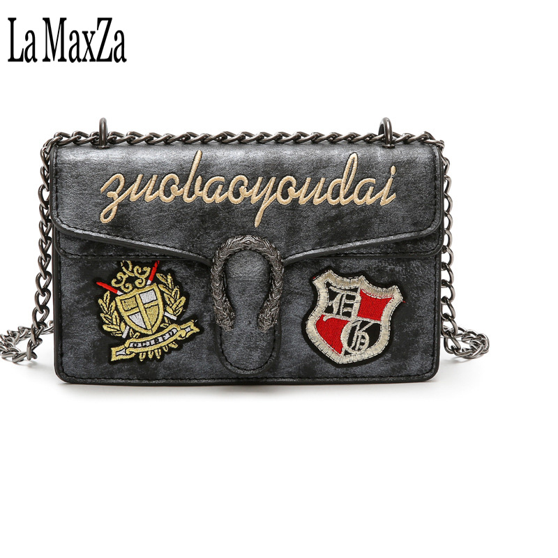 Embroidered Ms. Cross Body Bag High Quality PU Leather Ms. Shoulder Bag Chain Strap Womens Bags