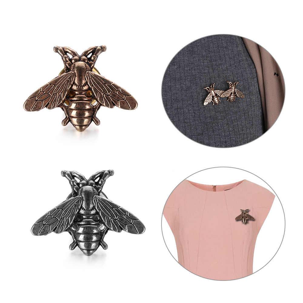1 пара/1 шт женский маленький свежий пчелиный броши Ретро мужские металлические золотые серебряные цвета винтажный костюм воротник шпильки модный тканевый аксессуар
