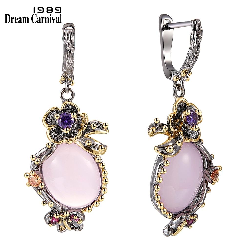 DreamCarnival 1989 Heißer Pick Drop Ohrringe für Frauen Hochzeit Partei Baumeln Ohrringe Rosa Opal Stein Mode Zubehör Geschenk WE3878