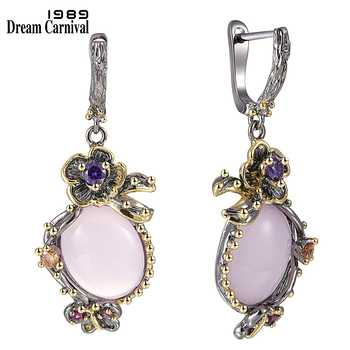 DreamCarnival 1989 Hot Pick Drop Earrings for Women Wedding Party Dangle Earings Pink Opal Stone Fashion Accessories Gift WE3878 - DISCOUNT ITEM  30% OFF All Category