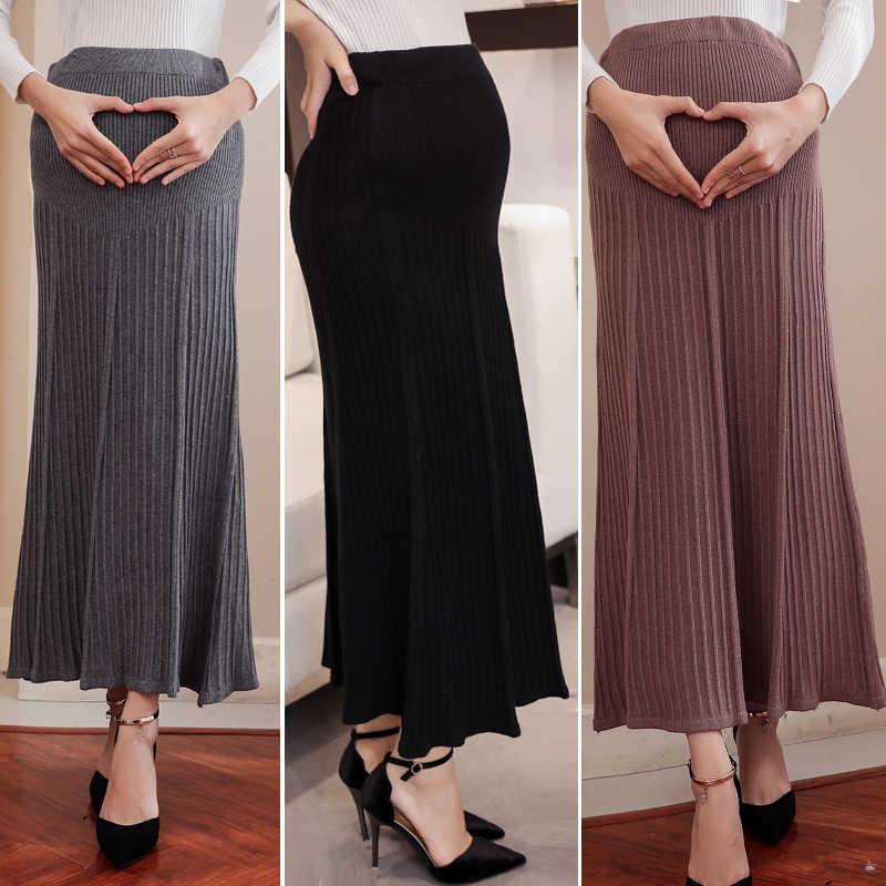 9913 # Elastische Taille Buik Moederschap Lange Rokken Bodems Kleding voor Zwangere Vrouwen Herfst Charmante Gebreide Zwangerschap Rokken