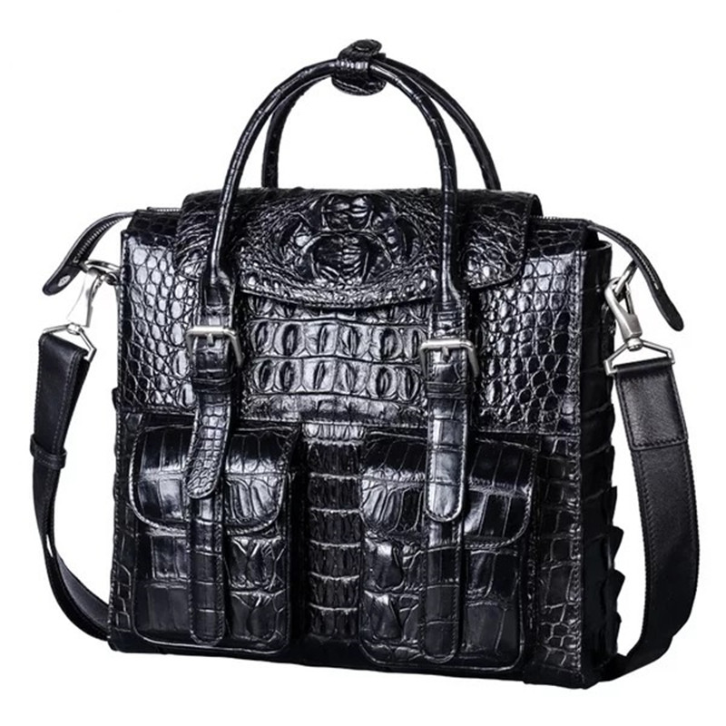 Fashion Designer Genuine Crocodile Leather Men's Flap Pockets Top handle Handbag Black Purse Alligator Skin Single Shoulder Bag цена