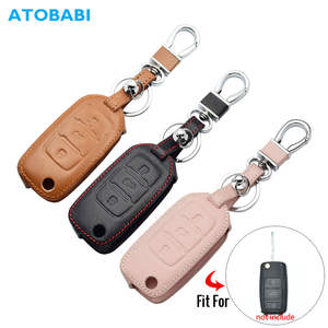 Leather Car Key Case For VW Volkswagen Polo Golf Passat Beetle Caddy T5 Up Eos Tiguan Skoda A5 SEAT Leon Altea Flip Remote Cover