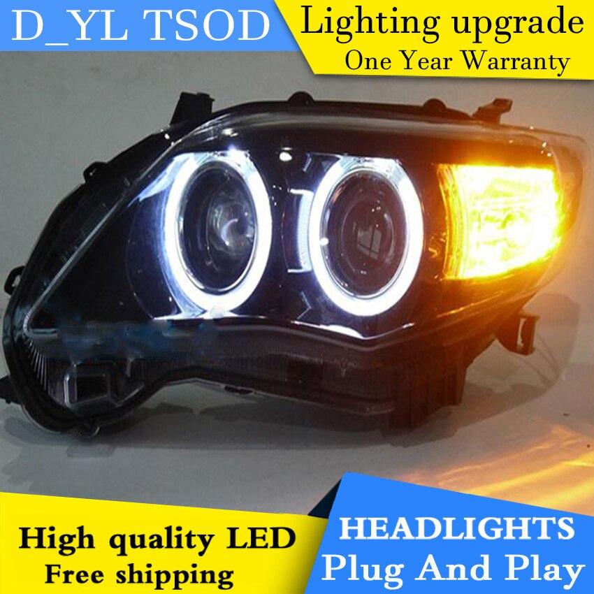 D YL Car Styling for Corolla Headlights 2011 2013 Corolla LED Headlight DRL Bi Xenon Lens