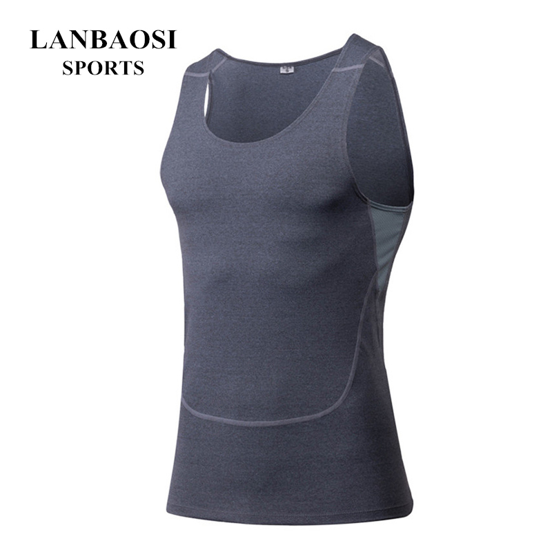 LANBAOSI Mens Compression Tight Tank Tops Baselayer Running Fitness Exercise Gym Bodybuilding Sleeveless Sports Vest Shirts