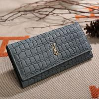 genuine leather long women marble wallet with coin pocket almost blue wallet slim cash envelope money bag stone pattern brand