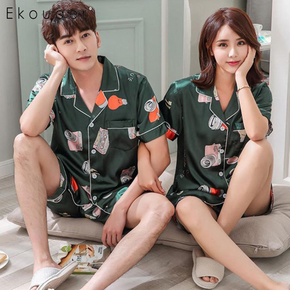 Ekouaer Summer Shorts   Pajamas   Women Men Sleepwear Casual Turn-down Collar Short Sleeve Printed Pocket Couple   Pajama     Set