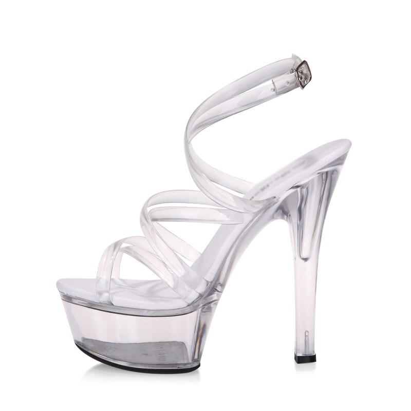 Gladiator Mujeres 15 Mujer 15cm Heel Cm Plataforma Peep Tacones Sandalias Zapatos Transparente Toe De Verano BHwxqw