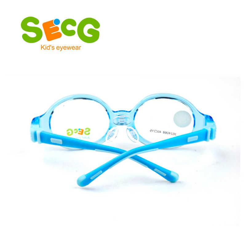 SECG Criança Do Bebê Rodada Bonito Crianças Flexíveis Quadro Ultraleve Macio Destacável Crianças Quadro Almofadas Nariz Silicone Óculos de Dioptria