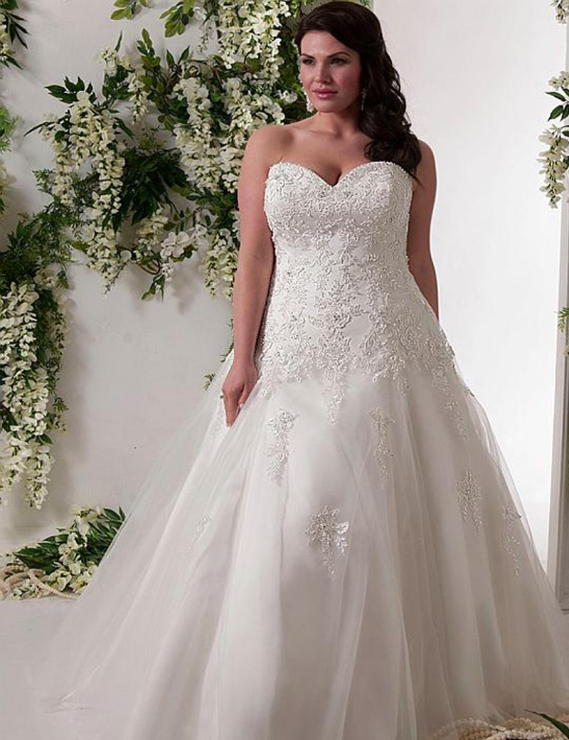ADLN Hot Sale Sweetheart Corset Plus Size Wedding Dress 2017 A Line Appliques Tulle Bridal