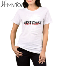 New Arrival Women Tshirt WEST COAST Letters Print Cotton Blend TShirts White Tee O-Neck Short Sleeve Tops Loose Casual Shirt