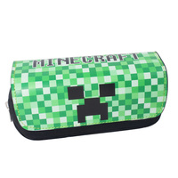 Classic Game Minecraft Pencil Case Animated Cartoon Double Layer Zipper Large Capacity Pencil Bag Kids Gift