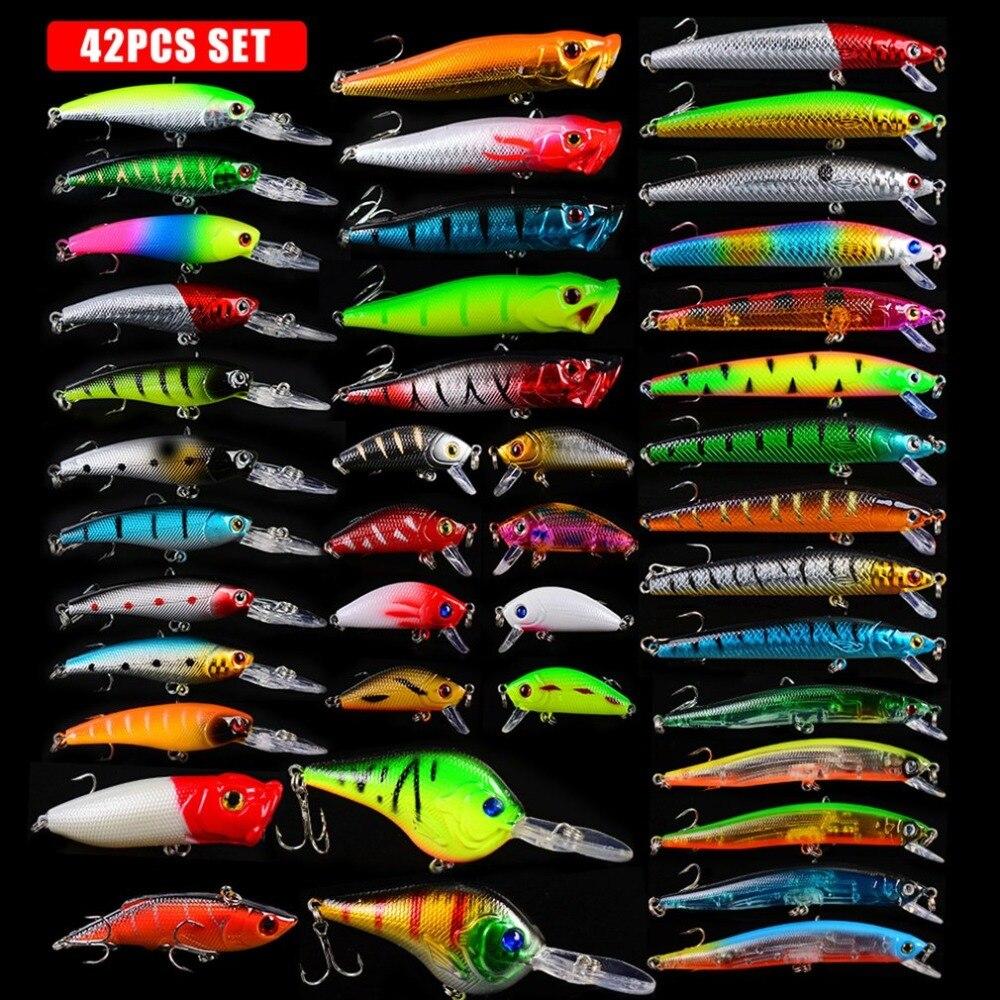 42pcs Set Mixed Fishing Hook Lure Artificial Bait Tackle hengjia 32pcs 3 5g fishing lure worm jighead hook for bass fishing hook soft bait artificial lure