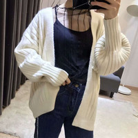 Koren Style High Quality White Cardigan For Women Girls Knitted Sweater Lantern Sleeve Thicken Warm Cardigans
