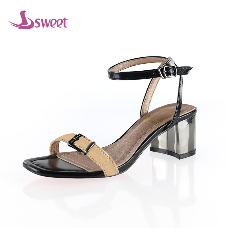 7ea445ed1f3 Brand womens shoes woman sandals Ankle-Wrap Microfiber Buckle Striped Front    Rear Strap Spike Heels Totem Novelty PartyB72