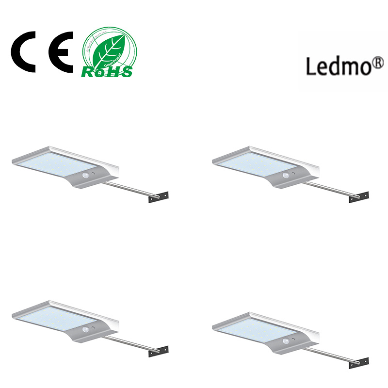 LDEMO Four Outdoor 450lm 36 Solar Powered LED Street Lamp Barn PIR Motion Sensor Lamp Wireless Waterproof Infrared Motion Sensor