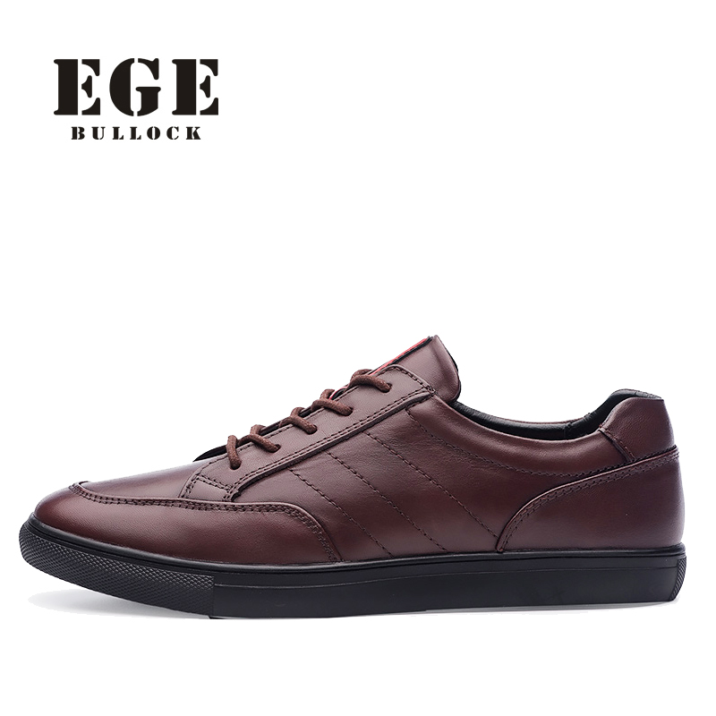 EGE Brand Casual Solid Men Shoes Genuine Cow Leather High Quality Breathable Brown Lace-Up Flat Shoes For Men