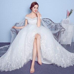 Image 5 - ลูกไม้ Appliques เย็บปักถักร้อยใหญ่งานแต่งงานชุด 2020 ใหม่มาถึงเซ็กซี่เรือคอปิดไหล่เกาหลีพลัสขนาด vestido De noiva