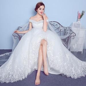 Image 5 - Lace Appliques Big Embroidery Wedding Dress 2020 New Arrival Sexy Boat Neck Off the Shoulder Korean Plue Size vestido de noiva