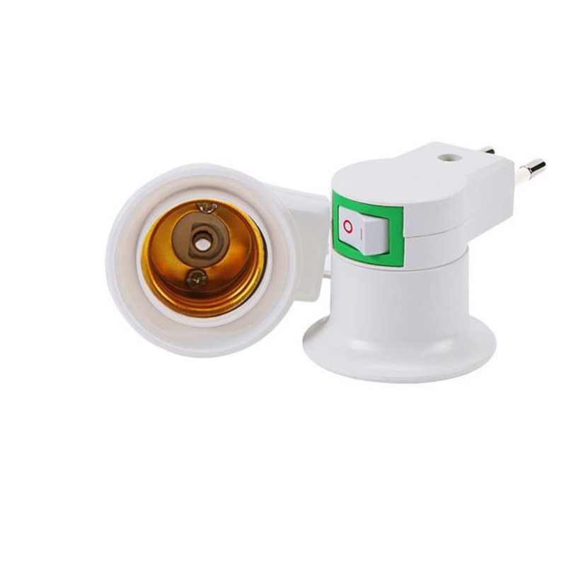 EU/US Plug E27 Lampholder Electric Light Socket Lamp Holder Adapter With Switch Home Office Supplies