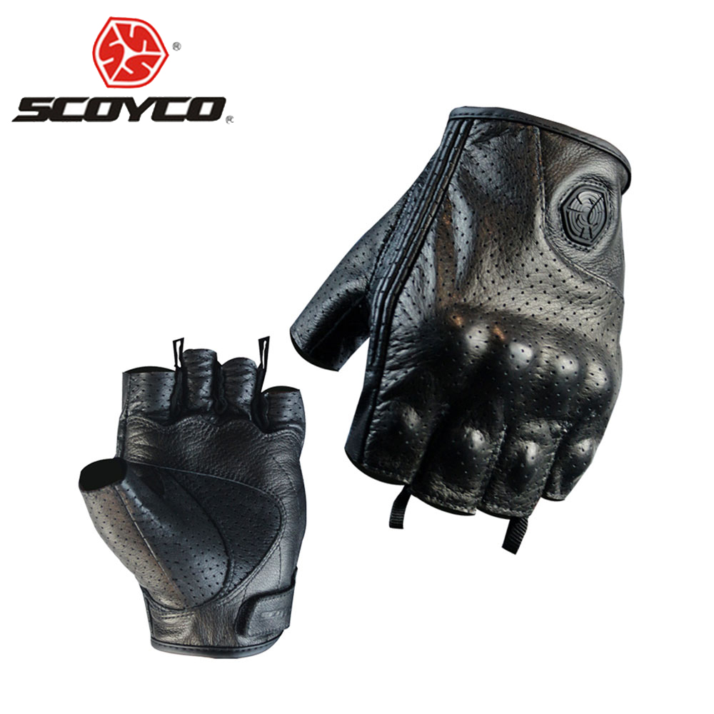 SCOYCO Motorcycle Gloves Moto Gloves Motocross Racing Gloves Leather Motorcycle Riding Half Finger Gloves Luva Couro Motoqueiro pro biker motorcycle riding gloves breathable motocross off road racing moto full finger gloves with stainlesssteel injection