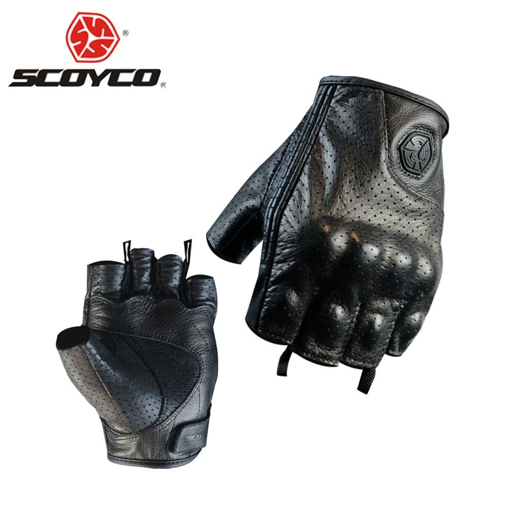 SCOYCO Motorcycle Gloves Moto Gloves Motocross Racing Gloves Leather Motorcycle Riding Half Finger Gloves Luva Couro Motoqueiro
