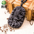 Drop Shipping Natural Black Obsidian Carving Dragon Lucky Amulet Pendant Necklace For Women Men Pendants New Unique Jade Jewelry