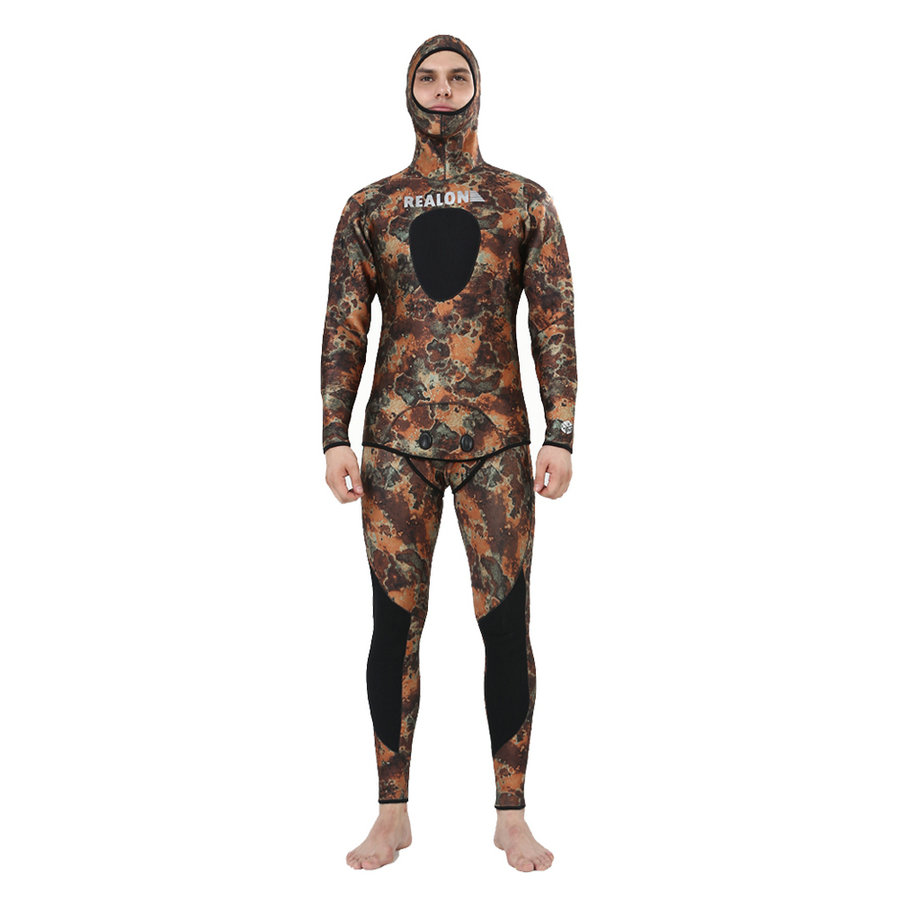 REALON Surfing Wetsuit 5mm Spearfishing Neoprene Scuba Diving Suit for Men and Women Camo Surf Wet Suit Top Swimsuit Swimwear