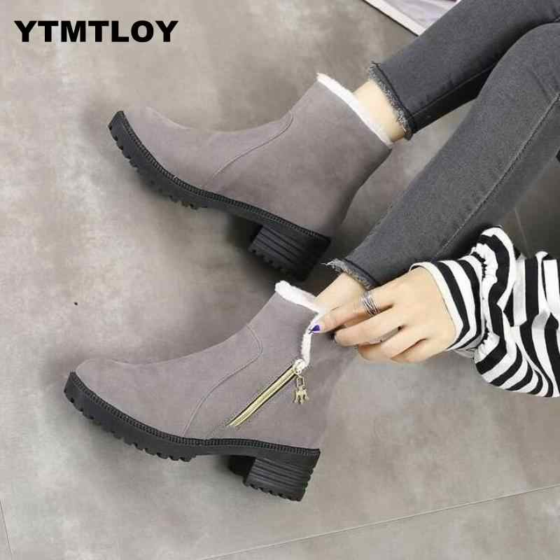 HOT Women Boots Winter Shoes Plus Size Hot Platform Female Warm Botas Mujer 2019 Booties Ankle For Women  Snow Boots  Black