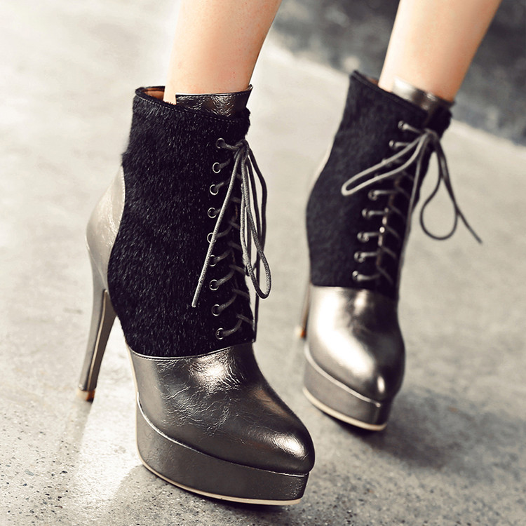 Big size fashion autumn winter women boots wedges high heels shoes woman pointed toe ankle boots platform martens boots w3-7 brand rivets patchwork ankle boots hidden wedges platform martin boots high heels pointed toe spring autumn boots zapatos mujer