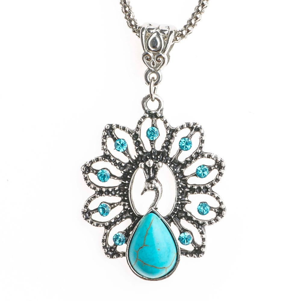 Shuangr Vintage Blue Natural Stone Peacock Pendant With Retro Chain Crystal Animal Necklace