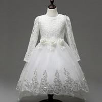 حار بيع الطفل بنات الرباط تول ثوب طويل الأكمام الأبيض زهرة الأطفال الأميرة فساتين الزفاف والحزبية مع زائدة لطيف القوس