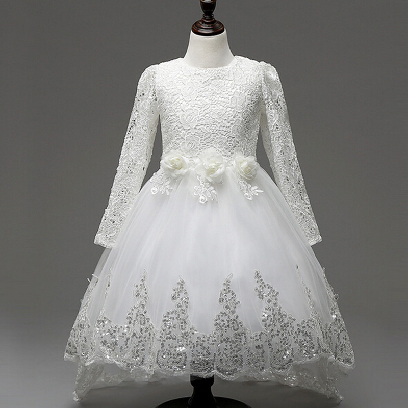 Hot Sale Baby Girls Lace Tulle Dress Long Sleeve White Flower Children Princess Wedding and Party Dresses With Trailing Cute Bow hot sale flower girls lace dresses for party and wedding lovely princess kids dress fashion children s clothing free shipping