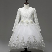 Hot Sale Baby Girls Lace Tulle Dress Long Sleeve White Flower Children Princess Wedding And Party