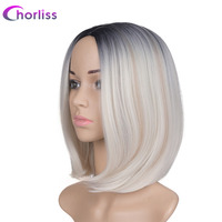 Chorliss 10inches P Black/D.Blonde/L.Blonde None Lace Ombre Synthetic Wigs High Temperature Fiber Short Straight Women Bob Wig