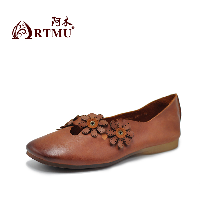 Artmu Fashion Women Shoes Casual Loafers Genuine Leather Flats Slip-On Flowers Shoes Round Toe Female Footwear Flower Shoes spring summer flock women flats shoes female round toe casual shoes lady slip on loafers shoes plus size 40 41 42 43 gh8