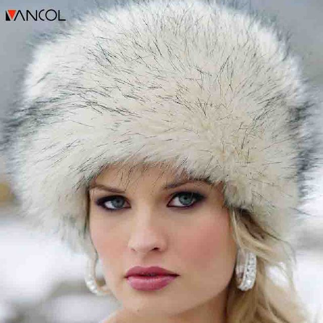 Vancol 2016 Fashion Thick Warm Round Flat Female Ski Snow Cap Faux Fox Fur Beanie Cap Women Winter Russian Hat Ushanka