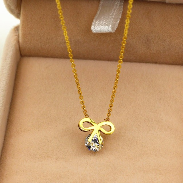 Popular yellow rose gold color necklaces pendants collier femme popular yellow rose gold color necklaces pendants collier femme cute girl crystal with bowknot mozeypictures Gallery