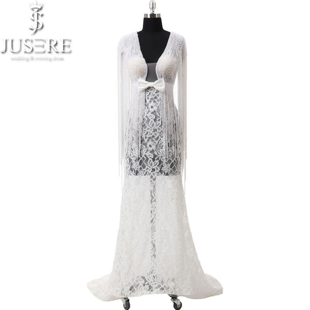 2018 Ivory Lace Deep V neckline Wedding dresses Illusion Bridal Pearl Straps Beads Flowing Down Lace Wedding Gowns Bow Knot Belt