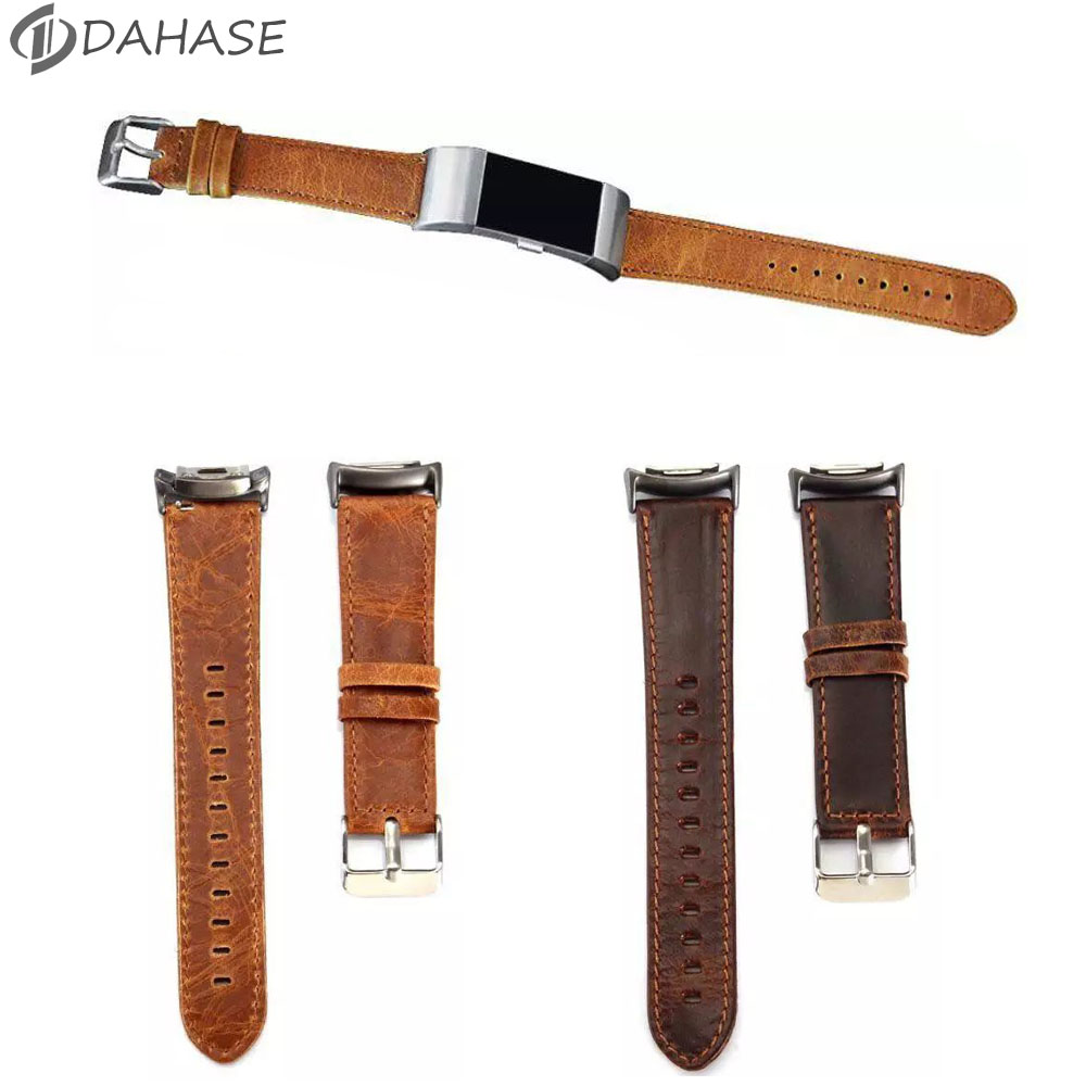 DAHASE Retro Replacement Genuine Leather Watch Band Bracelet Wrist Strap for Fitbit Charge 2 Band Brown Coffee Color Available 2016 new genuine leather soft wrist band watch strap for fitbit charge 2 tracker large small bracelet replacement acessory
