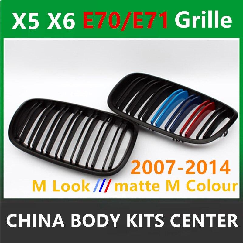 Оригинальный м Цвет двойной рейки передний бампер решетка почек гриль сетки для BMW X5 E70 2007 2013x6 e71 2008 2014 ABS 28i 35i