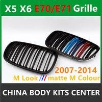 Оригинальный м Цвет двойные рейки переднего бампера решётка радиатора гриль сетки для BMW X5 E70 2007 2013X6 E71 2008 2014 ABS 28i 35i
