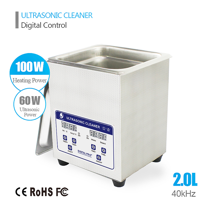 SKYMEN Digital Ultrasonic Cleaner Bath 2L 60W 40kHz for Medical and Dental Clinics, Tattoo Shops, Scientific Labs and Golf