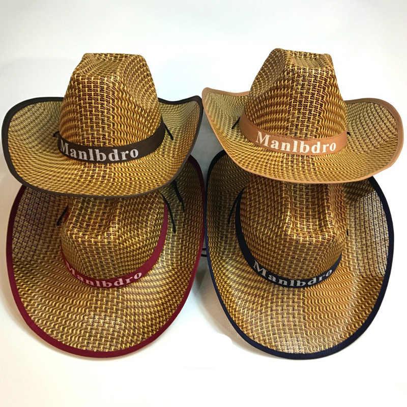 Summer Wide Brim Straw Weave Hat Casual Western Cowboy Hats Panama Cap Jazz  Chapeau Outdoor Sunhat a6bd61064ae1
