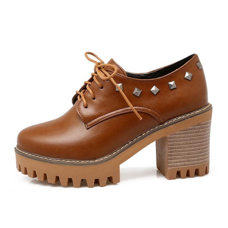 Zapatos Británico marrón Botas Estilo 32 43 Alto Mujer Para negro Remaches  Con Cortas Beige Tacón De Cordones Plataforma ... e9442268915f