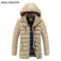 HEE GRAND Men Long Stretch Parkas 2017 New Arrival Solid Color Warm Padded Autumn Winter Coat 4 Colors Plus Size L 3XL MWM1658